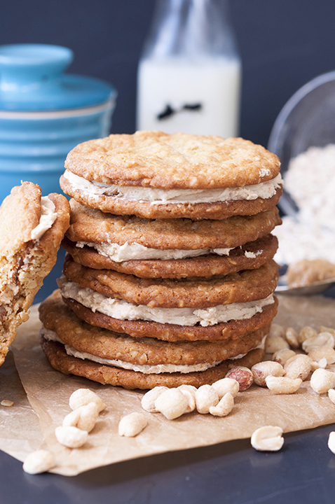 Why eat store bought cookies when you can make this recipe for simple and easy Homemade Stuffed Nutter Butter Cookies?! Chewy oatmeal peanut butter cookies with delectable peanut butter cream filling - perfection!