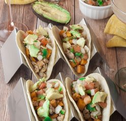 Colorful sweet potato tacos recipe is gluten free, vegetarian, and a healthy meal for Mexican food night.