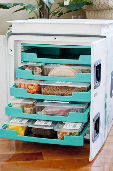 """Terra's Kitchen meal subscriptions focus on delivery technology to conveniently bring you healthy, prepped ingredients in an innovative climate-controlled """"refrigerator"""" type vessel."""