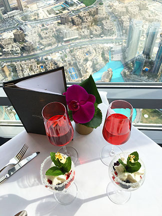 The food and drinks at Burj Khalifa during afternoon tea at the Atmosphere restaurant, Dubai.