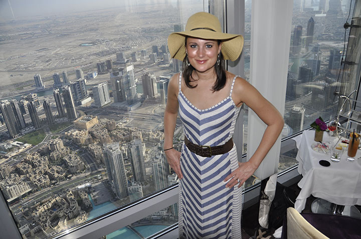 At the top of Burj Khalifa during afternoon tea at the Atmosphere restaurant, Dubai.