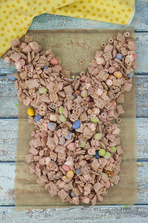 "Easter Bunny Tail Chex Mix recipe, also known as ""Easter Crack"" or ""Bunny Bait"", is the cutest Easter or spring treat and so quick and easy that kids can help make it!"