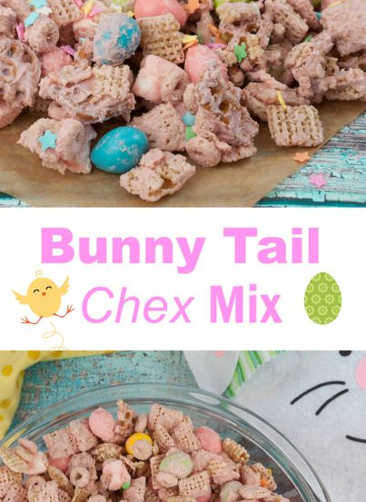 """Easter Bunny Tail Chex Mix recipe, or """"Easter Crack"""", is the cutest Easter or spring treat and so quick and easy that kids can help make it!"""