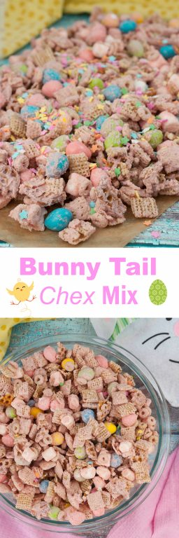 "Easter Bunny Tail Chex Mix recipe, or ""Easter Crack"", is loaded with peanut M&M's and chex is the cutest holiday Easter treat and so quick and easy that kids can help make it!"