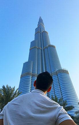 Looking up at Burj Khalifa Skyscraper, Dubai.