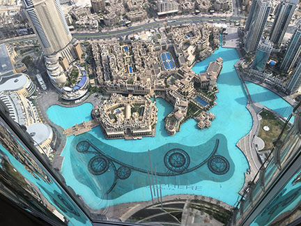 Looking down from the top of Burj Khalifa during afternoon tea at the Atmosphere restaurant, Dubai.