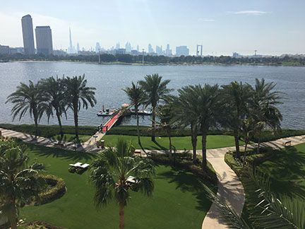 The view of the city skyline of Dubai from the Park Hyatt Dubai.