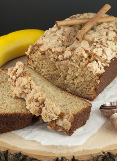 Flavorful Cinnamon Crumb Banana Bread is a quick bread recipe with swirls of buttery cinnamon sugar throughout. This is great for breakfast, brunch, or dessert and is out of this world!