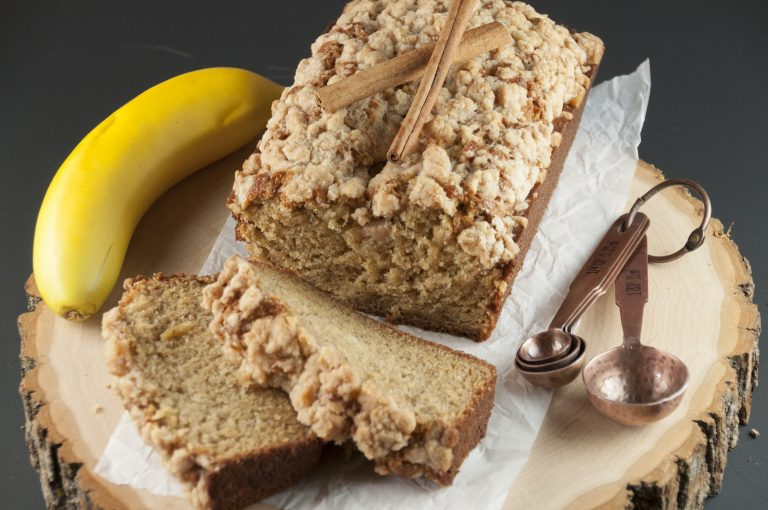 Easy Cinnamon Crumb Banana Bread is a delicious quick bread recipe with swirls of buttery cinnamon sugar throughout. This is great for breakfast, brunch, or dessert and is out of this world!