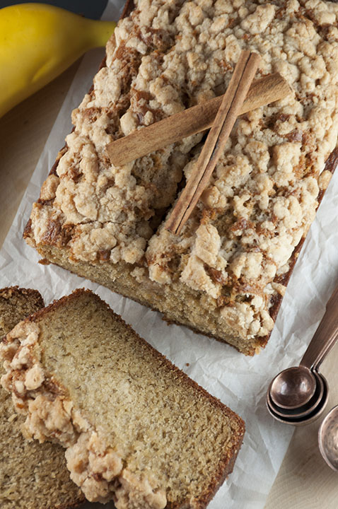Simple Cinnamon Crumb Banana Bread is a quick bread recipe with swirls of buttery cinnamon sugar throughout. This is great for breakfast, a snack, brunch, or dessert and is out of this world!