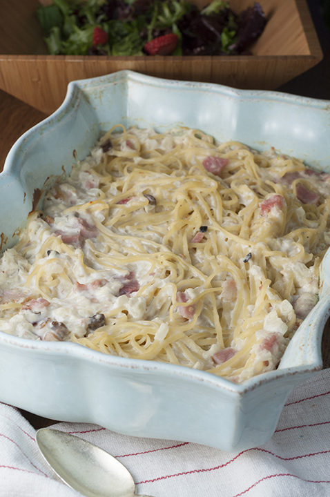 Creamy Baked Ham Fettuccine Alfredo is simple to make comfort food pasta dinner using leftover Easter ham that will leave your family asking for seconds!