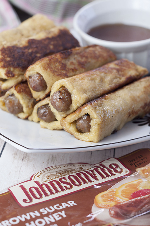 This sweet and savory recipe for Mini French Toast Sausage Roll-Ups served with warm maple syrup for dunking will be the best addition to your Easter breakfast or brunch!