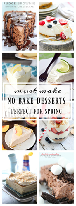 I have for you the perfect list of Must Have No-Bake Spring Desserts for the warm weather picnics, cook-outs, holidays & when you feel like baking up an easy recipe while keeping your kitchen cool!
