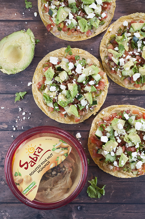 Pine Nut Hummus Pico de Gallo Tostadas recipe topped with an easy, fresh, homemade Pico de Gallo and a variety of toppings for a healthy, vegetarian appetizer or snack!