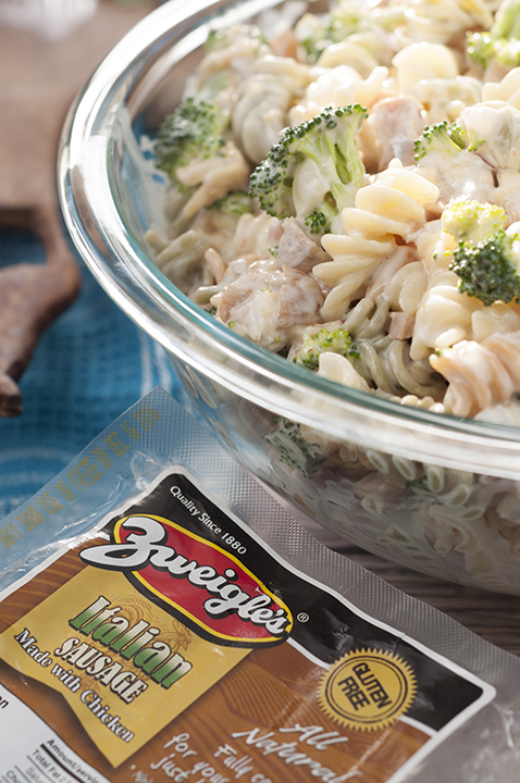 Easy Sausage Broccoli Cheddar Pasta Salad is a side dish recipe tossed with a creamy, slightly sweet dressing that is pefect for any picnic or cookout and tastes great every time!