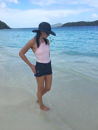 Wearing my baby pink Kate Spade swimwear in St. Thomas Beach, Virgin Islands