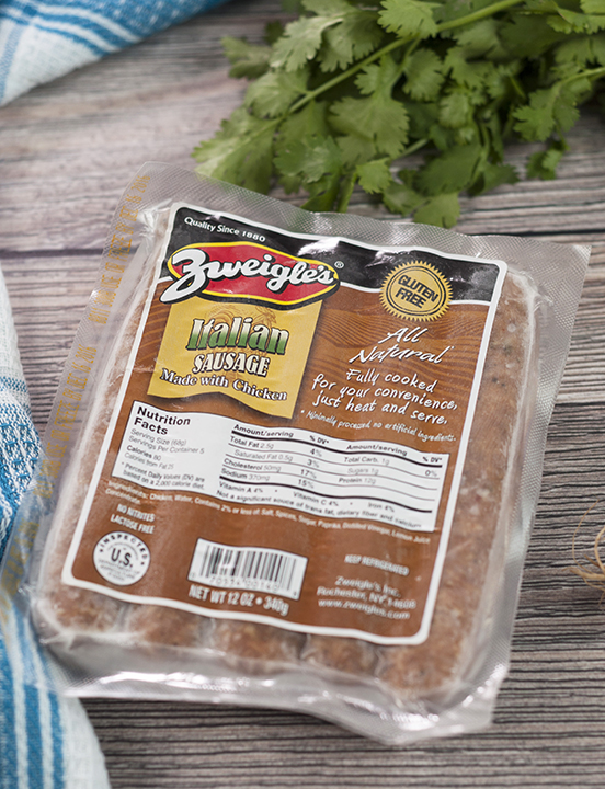 Zweigle's Italian Style all-natural chicken sausage, Rochester NY