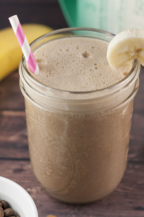 Healthy, gluten-free Banana Coconut Mocha Coffee Shake recipe without all the sugar and empty calories and with just enough caffeine to give you energy along with nutrients for a quick and easy breakfast!