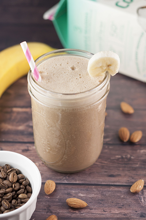 Healthy Banana Almond Mocha Coffee Shake recipe without all the sugar and empty calories and with just enough caffeine to give you energy to start your day!