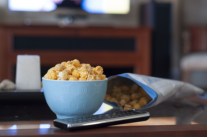 G.H. Cretors Chicago Mix Sweet and Salty popcorn for a perfect movie night snack.