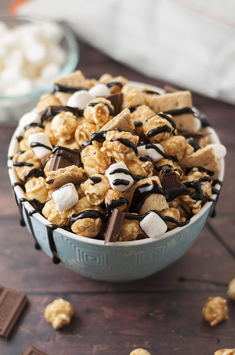 Caramel S'mores Popcorn recipe is the perfect movie night snack made easy by using G.H. Cretors caramel popcorn!