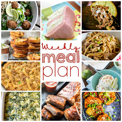 Weekly Meal Plan {Week 95} -10 bloggers bringing you a full week of recipes that are perfect for spring including dinner, sides dishes, &indulgent desserts!