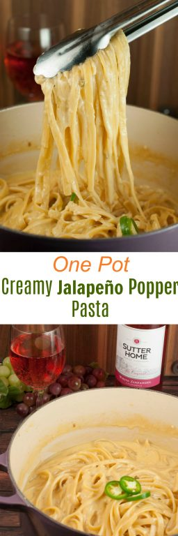 One Pot Creamy Jalapeño Popper Pasta recipe is easy enough for a weeknight meal with just the right amount of spicy flavors, creamy sauce, and gooey cheese!