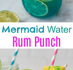 Mermaid Water Rum Punch Cocktail will make you feel like you're on a tropical island and perfect for a hot summer day. Multiply the ingredients to make a big batch for your next holiday party or picnic!