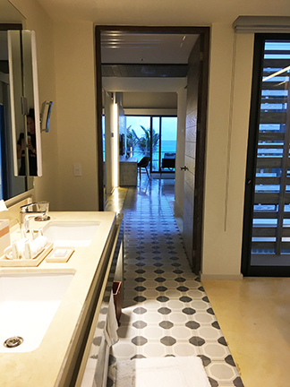 Huge bathroom, bi-level suite, Andaz Mayakoba.