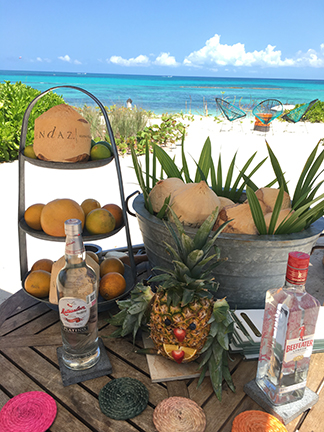 Drinks made at the Andaz poolside for you inside fresh coconuts, Mayakoba, Mexico.