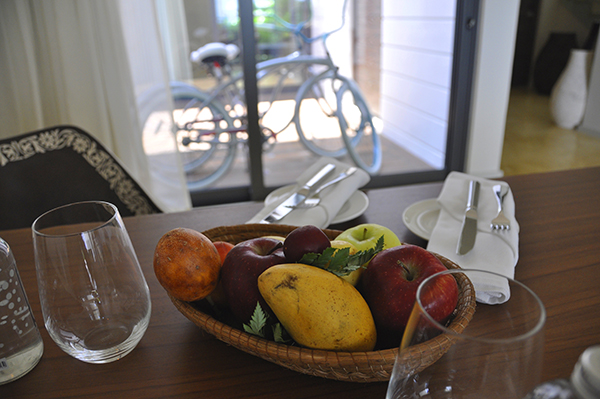 Fruit and bicycles at the Andaz Mayakoba in the bi-level suite.