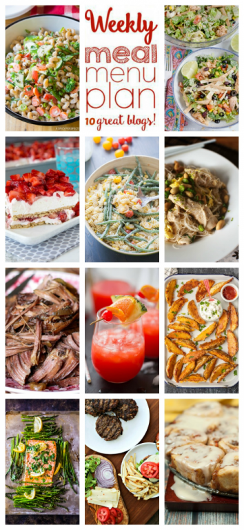 Weekly Meal Plan {Week 104} – 10 great bloggers bringing you a full week of recipes including dinner, sides dishes, and desserts!