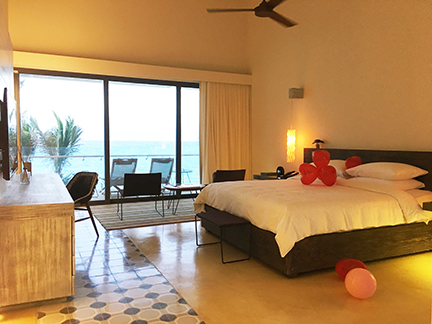 Master bedroom, Andaz Mayakoba, in the bi-level suite.