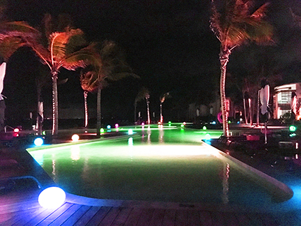 Pool at nighttime, Andaz Hyatt, Mayakoba, Mexico.