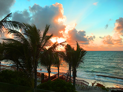 Sunrise from our balcony, Andaz Hyatt, Mayakoba, Mexico.