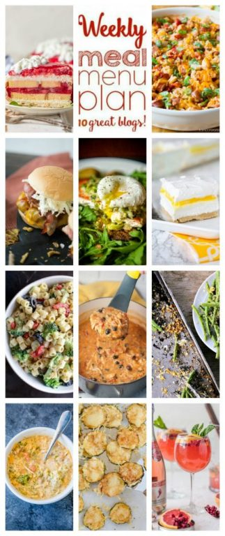 Weekly Meal Plan {Week 105}– 10 great bloggers bringing you a full week of amazing summertime recipes including dinner, sides dishes, and sweet treats!
