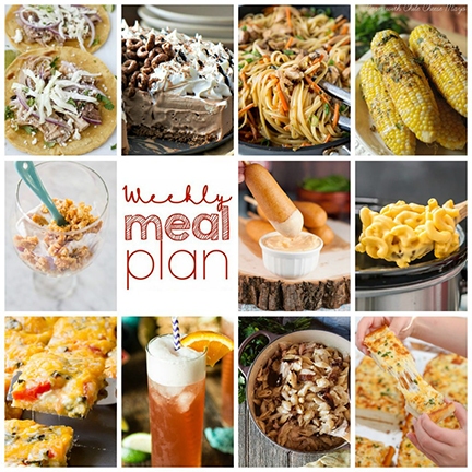 Weekly Meal Plan {Week 107} - 10 great bloggers bringing you a full week of fun warm-weather recipes including dinner, sides dishes, and desserts!