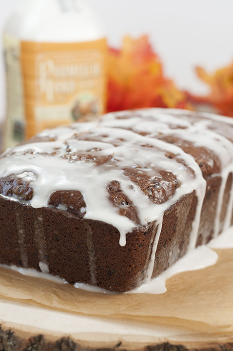 Bourban-Glazed Chocolate Chip Pumpkin Bread recipe where cinnamon and fall spices blendwith chocolate and pumpkin holiday flavorsto make the most tender, moist holiday quickbread for any occasion!