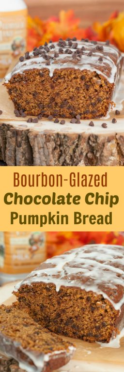 Bourban-Glazed Chocolate Chip Pumpkin Bread recipe where cinnamon and fall spices blend with chocolate chips and pumpkin flavors to make the most tender, moist dessert bread!