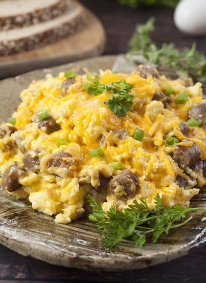 Sausage, Egg, and Cheese Scramble recipe is a tasty combination of your favorite breakfast foods for a hearty weekday morning or Sunday morning family breakfast!