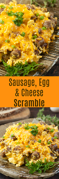 Easy Sausage, Egg, and Cheese Scramble recipe is a tasty combination of your favorite breakfast foods for a hearty weekday morning or Sunday family breakfast/dinner!