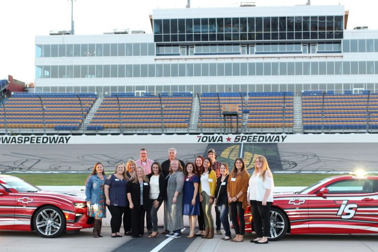 Iowa Speedway group photo for Iowa Corn Tour.