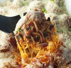 Italian Baked Spaghetti and Meatballs Casserole is a delicious change from your everyday pasta and sauce. This will be a new family favorite comfort food recipe!