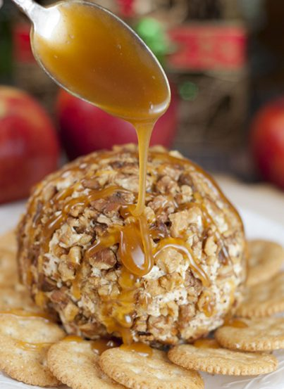 Quick and easy Caramel Apple Cheese Ball recipe works for a holiday appetizer idea, snack OR dessert! This sweet and salty treat would be perfect for a potluck or party.