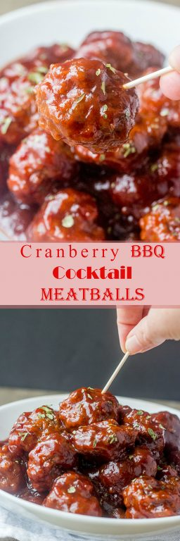 This sweet and tangy Cranberry BBQ Cocktail Meatballs recipe is fitting for an easy holiday appetizer or make it into a meal served over rice! These would be a hit for parties, Christmas Eve, Christmas Day, or New Year's Eve.
