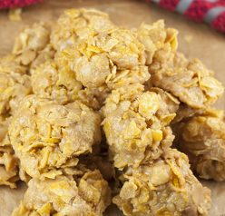 You only need 5 ingredients for this No-Bake Grandma's Peanut Butter Corn Flake Clusters recipe that is perfect for Christmas dessert! They are easy to make and quite addictive!