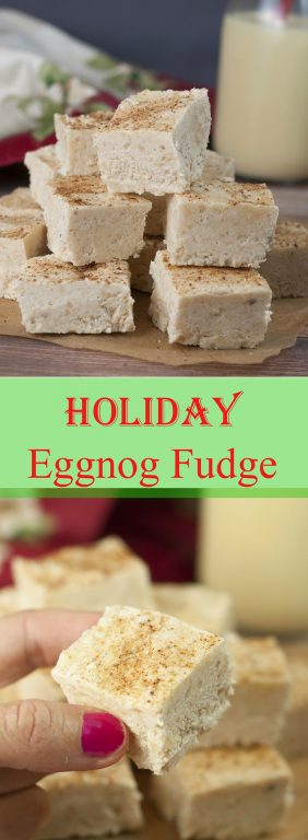 This Smooth and Creamy Holiday Eggnog Fudge recipe is your favorite Christmas holiday beverage turned into the perfect Christmas dessert for your holiday parties! You'll love the sprinkle of nutmeg on top!