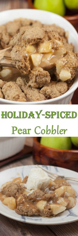 Fall Holiday-Spiced Pear Cobbler recipe made with fresh pears has all of the fall & winter spices to make this the perfect, decadent holiday dessert idea!