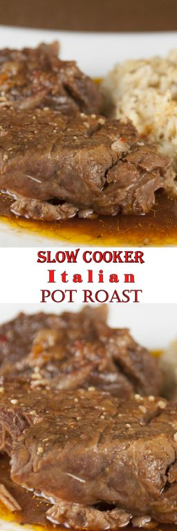 Tender, fall-apart, juicy Slow Cooker Italian Pot Roast recipe is packed full of flavor and an easy weeknight dinner. It's fancy enough to serve to dinner guests for a holiday (Christmas) dinner and the crock pot does all the work!