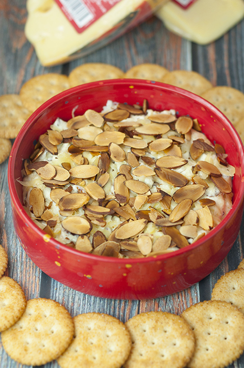 Toasted Almond Cheese Dip recipe is a quick and easy dip recipe for the Christmas, Super Bowl, or game day appetizer idea! Who doesn't love a hot, melty cheese dip topped with crunchy sliced almonds?